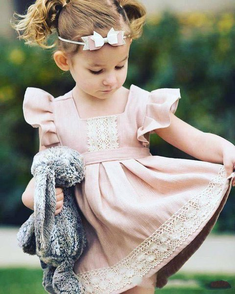 Retail Ins Summer New Girl Cinderella pageant Dress Pink Lace Flare Sleeve Cotton Princess Mini Dress Children Clothing 1-6Y baby