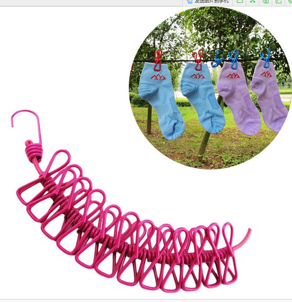 best selling Portable Clothesline With Clip Telescopic windproof elastic Rope With 12 Robe Clip Hooks Outdoor Camping Hang the clothes Clips 185cm