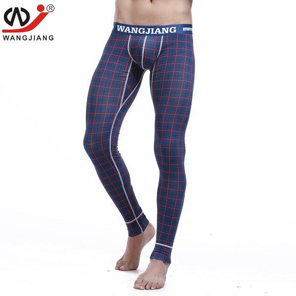 WJ marca uomo lungo johns pantaloni caldi sottile linea elastica di moda uomo cotone stampa biancheria intima sexy gay legging a lungo Johns