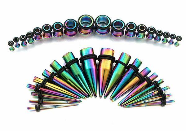 36 Unids / set 1.6-10mm 316L Tapers Tapones Para Los Oídos Calibrador Kit de Estiramiento Para Mujeres Hombres Joyería Del Cuerpo 3 Color Pendiente de Estilo Punk G75L