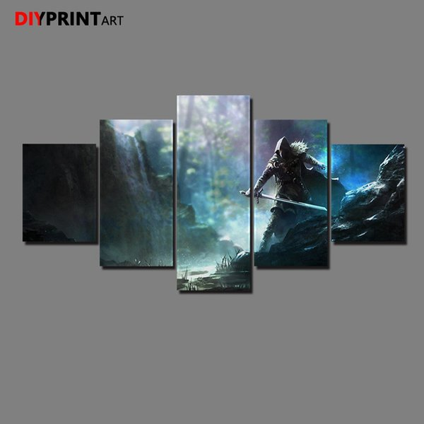 Killer River 5 Panels Modern Art Painting Living Room Home Decoration A1343