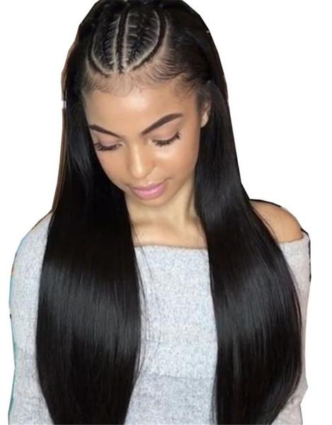 Оптовая Glueless полный парики шнурка / передний парик шнурка индийские девственные парики человеческих волос естественный цвет прямые парики для продажи