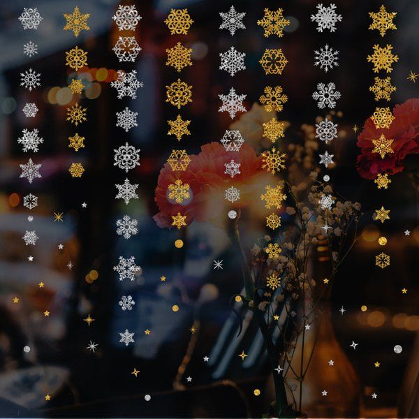 2019 New Year Gold Powder Silver Powder Snowflake Christmas Decorations for Home Window Glass Background Decoration Sticker Y18102609