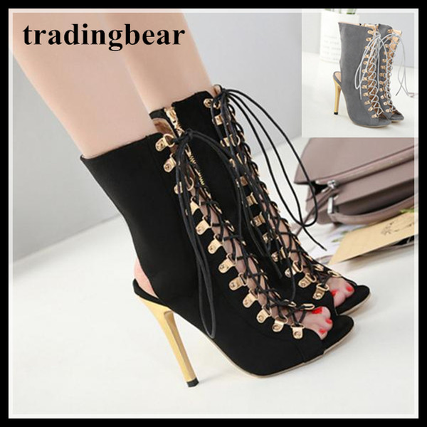 Grey black ankle bootie peep toe shoes sexy ladies lace up high heels pumps 12cm size 34 to 40