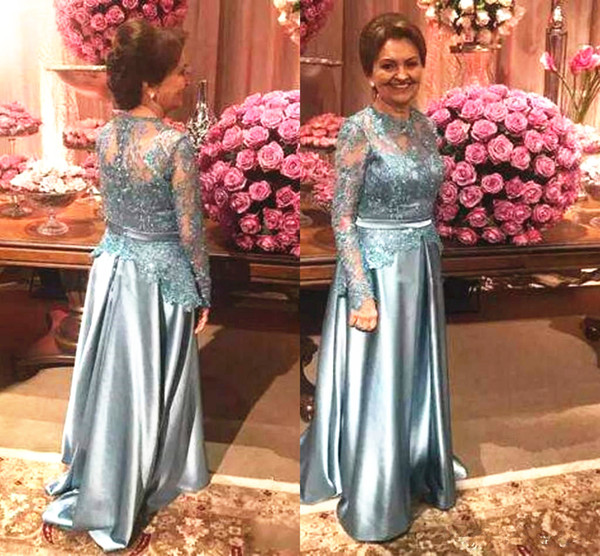 Long Sleeves Mother of the Bride/Groom Dress High Neck Lace Top Satin Skirt Floor Length Classic Formal Evening Dresses Party Dress