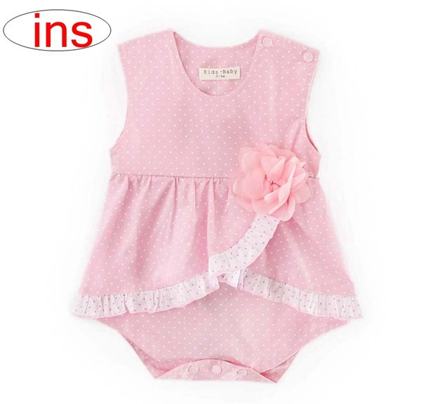 ins infant pink ploka cotton romper baby dot print Jumpsuits summer kids tutu ruffle rompers dress free ship 0-2years