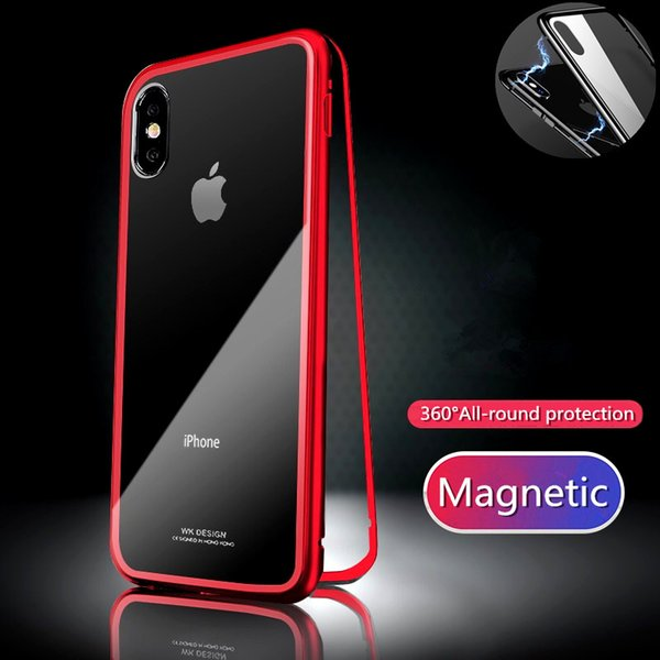 For iPhone XS / XS MAX / XR Case Magnetic Adsorption Metal Bumper + 9H Tempered Glass Back Cover Slim Hard Shockproof Phone Case