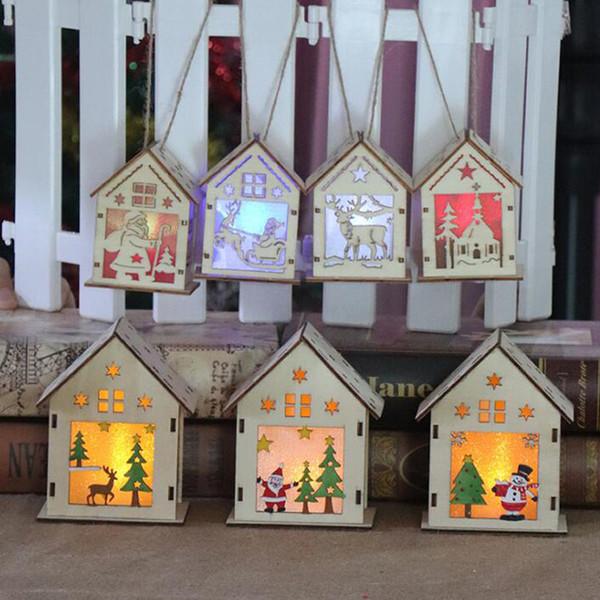 DIY choza de madera LED barra de luz familia árbol de navidad luces de la decoración de Navidad mejores regalos para amigos QW8515