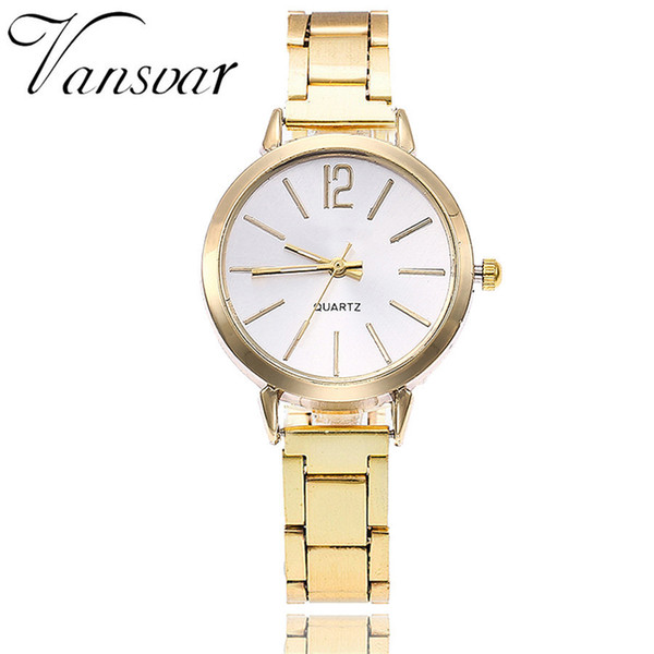 Vansvar Brand Fashion Women Stainless Steel Silver Gold Watch Unique Simple Watches Casual Quartz Wristwatches Dropshipping