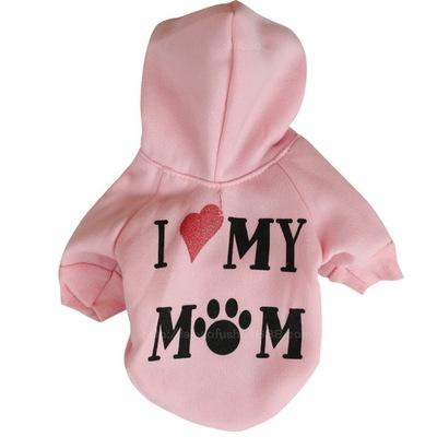 Small Dog Clothes Pet Clothes Puppy Winter Hoodie Sweater Dog Coat Warm Sweatshirt Love My Mom Printed Dog Shirt