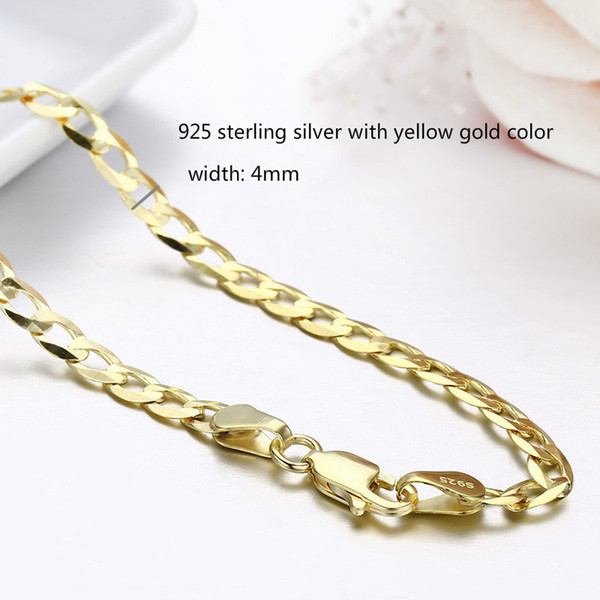 45cm-80cm 4mm Slim 925 Sterling Silver W/ Gold Color Curb Chain Link Necklaces Men Jewelry Hiphop collares kolye Collier ketting Y1892805