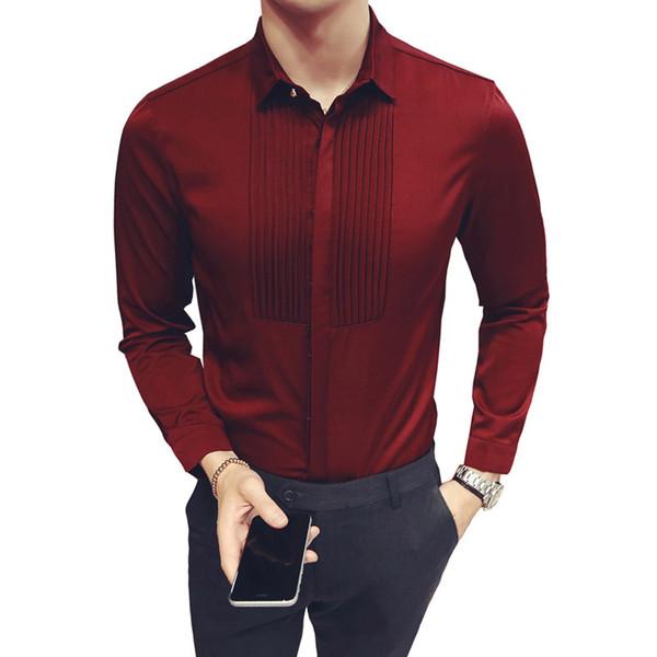 2018 Yeni Slim Fit erkek Gömlek Düğün Parti Uzun Kollu Smokin Gömlek Erkekler Moda Elbise Gömlek Sağdıç ve Damat Gömlek 5XL