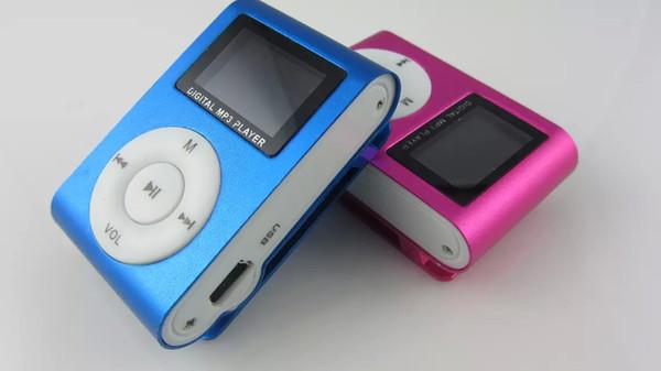 Mini giocatore di musica Mp3 della clip con lo schermo LCD FM portatile Digital 5 colori Nuovo commercio all'ingrosso 100pcs / lot Trasporto libero del DHL