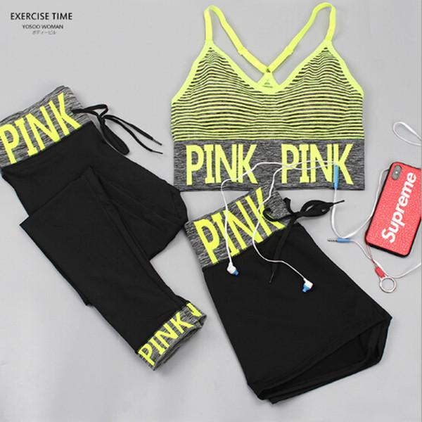 2018 Fashion Pink Letter Tracksuits Quick-dry 3pcs set Yoga Suit Fitness Bra Shorts Gym Top Vest Pants Running Underwear Sets Outfit 1SET