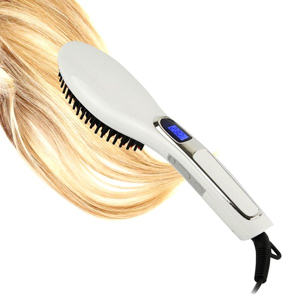 2018 High Quality LED Electric hair straightener brush Hair Care Styling hair straightener Comb Auto Massager Straightening Irons