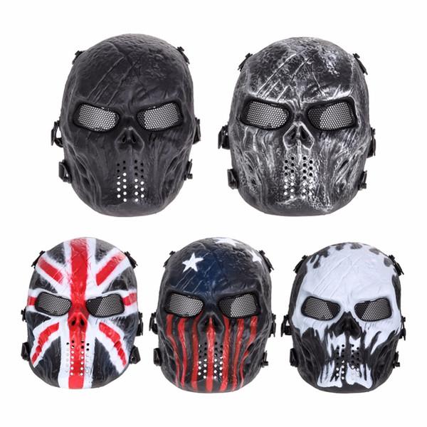 Airsoft Paintball Mask Skull Full Face Mask Juegos de ejército al aire libre malla de metal Eye Shield traje para Halloween Party Supplies