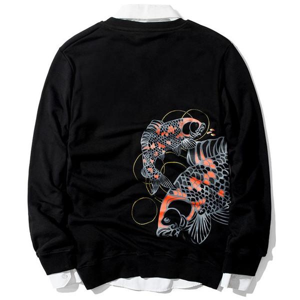 JM Atacado nova marca de maré China vento carpa solta caber casaco de mangas compridas bordado hoodies casaco casaco