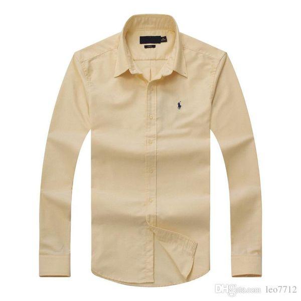 Envío gratis Solid Men's Camisas de vestir Slim manga larga Single-breasted moda ropa casual hombres de moda camisas Tops