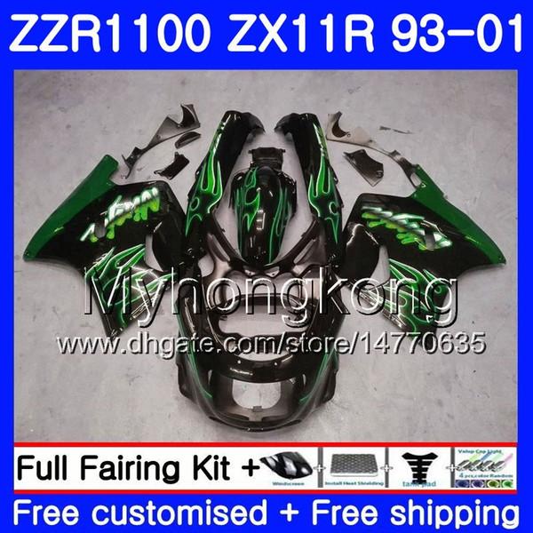 Cuerpo para KAWASAKI NINJA ZX 11R ZX11R 93 98 99 00 01 206HM.47 ZZR 1100 ZX11 R ZZR1100 Llamas verdes ZX-11R 1993 1998 1999 2000 2001