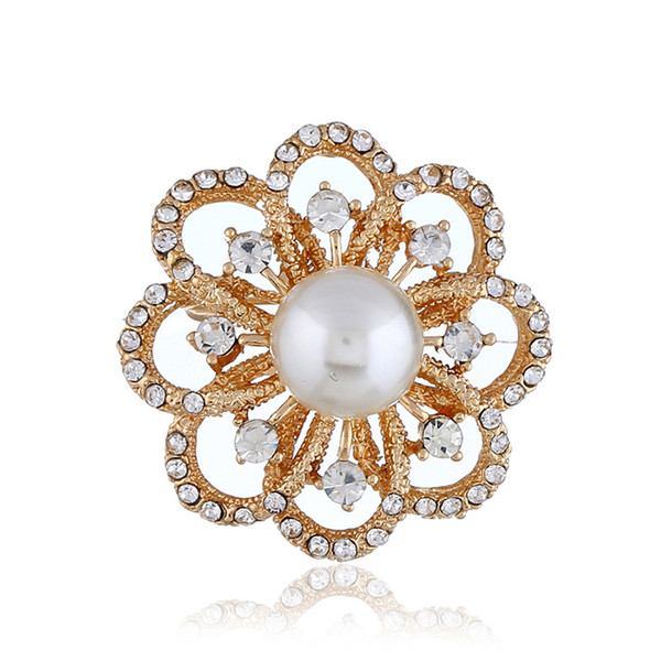 Women Hollow Flowers Rhinestone Pearl Brooch Pins Corsage Brooches Wedding Party Bridal Fashion Jewelry Costume Decoration