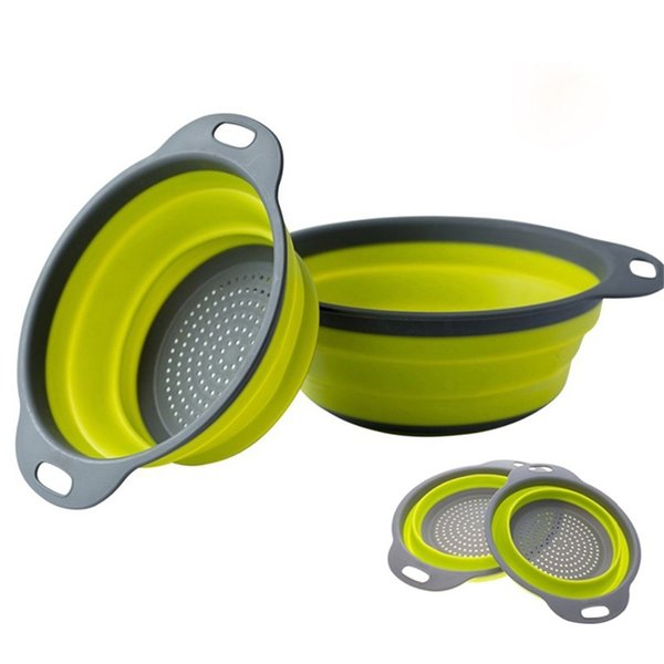 2 PCs/ Set Collapsible Silicone Colander Folding Kitchen Silicone Strainer Fruit Vegetable Strainer Kitchen Accessories Free Shipping