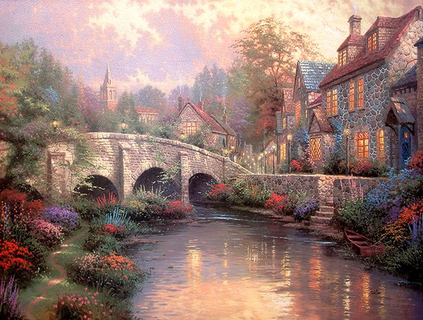 Unframed or Framed Thomas Kinkade Landscape Oil Painting Reproduction High Quality Picture Printed On Canvas Modern Home Art Decor HT157