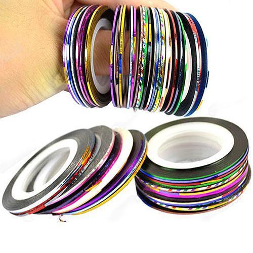 10 Cor 20 m / Rolls Nail Art Gel UV Dicas de Striping Tape Linha Etiqueta DIY Decorações Nail Art Striping Tape linha