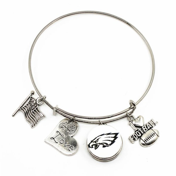 Newest 10pcs/lotHigh Quality Team With I Love Football Ginger Snap Button Adjustable Expandable Bangle charm bracelet