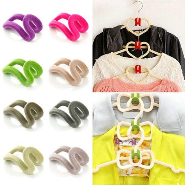10 Pcs Mini Easy Hook Closet Organizer Flocking Clothes Hanger Home Supplies Random Color J2Y