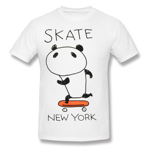 New Arrival Mens Percent Cotton Skate Panda T-Shirt Mens Round Neck Blue Short Sleeve Shirts Blouse Big Size Summer T-Shirt