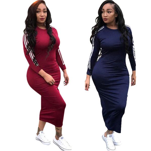 Kadınlar Rahat Elbiseler Bodycon Uzun Kollu Orta buzağı Aktif Elbise Etekler Eşofman Lady Bayanlar Giyim İlkbahar Sonbahar Tasarım