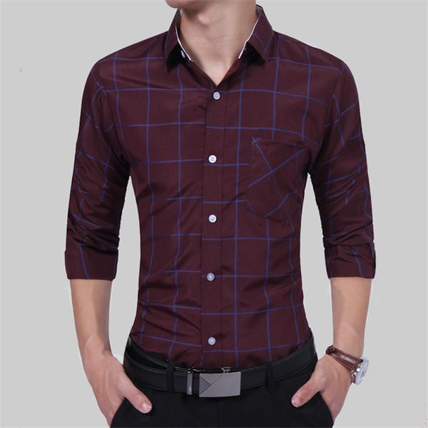 COFFEY 2018 fashion plaid printed men shirt long sleeve cotton sexy mens shirt casual slim fit new color Hawaiian
