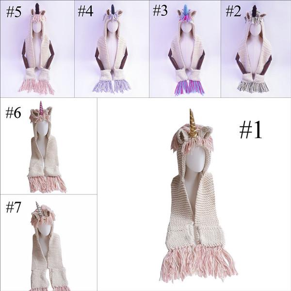 7 colores sombreros de punto con unicornio para bebés niñas con bufanda niños niños sombreros a prueba de viento bufanda borlas niño lindo abrigo largo dibujos animados gorras cálidas