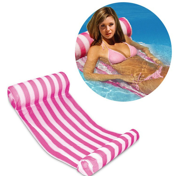 top popular Swimming pool inflatable cushion Stripe Floating Sleeping Bed Water Hammock Lounger Chair Floating bed Outdoor beach Inflatable Air Mattress 2021