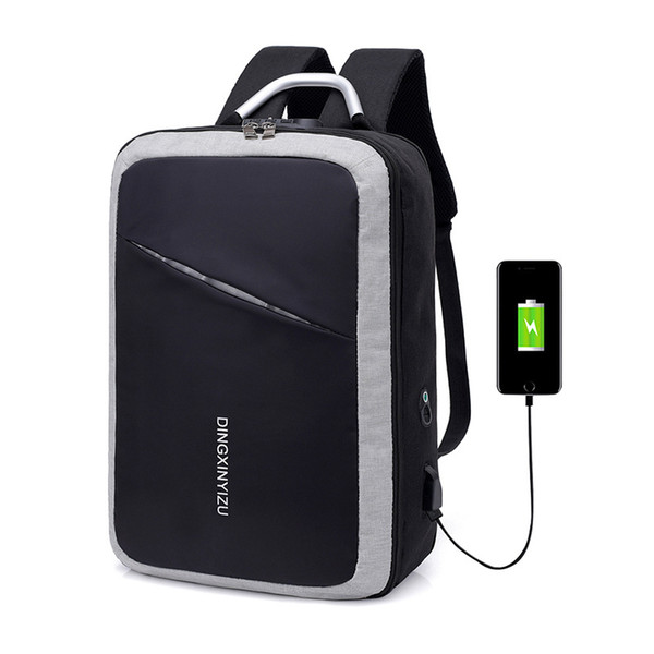 Backpack Waterproof Wearable Breathable Password Lock Anti-theft Bag USB Charging Men Computer bags outdoor sport Training Bags