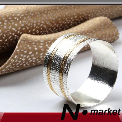 New Free Shipping Mixture Color Napkin Rings For Wedding Round Two Golden Line Dot Napkin Holder N.market