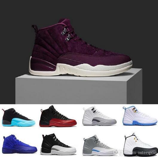 2019 Designer 12 12s para hombre Zapatos de baloncesto gimnasio rojo juego de gripe lobo gris Universidad azul unc lana Gris oscuro blanco GS Zapatillas de deporte deportivas
