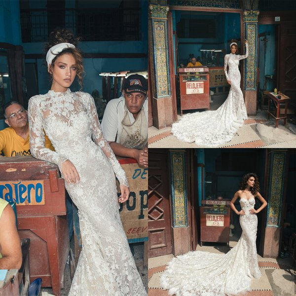 Julie Vino 2019 Mermaid Wedding Dress Full Lace Floral Appliques Sweetheart Bridal Gowns With Removable High Collar Long Sleeve Bolero
