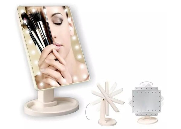 22 luces LED Touch Screen Makeup Mirror Tabletop Cosmetic light up Espejo Beauty360 Degree Rotación Touch Screen Makeup Mirror