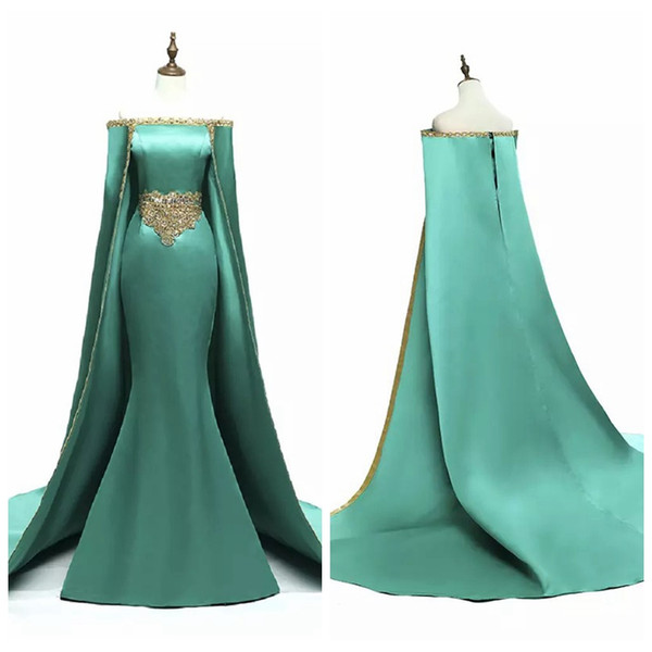 2019 Saudi Arabia Long Prom Dresses With Cape Gold Beading Muslim Mermaid Formal Gowns Evening Wear Boat Neck Satin Events Party Dress