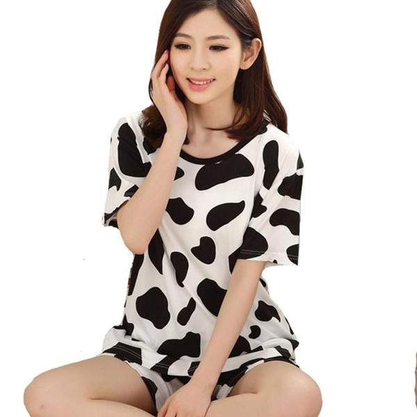 Women Pajamas Sets 2016 Hot Summer Autumn Short Sleeve Cotton Thin Pajamas Home Furnishing Clothing Cartoon Print Cute Plus Size