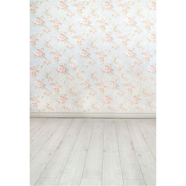 Floral Damask Wall Photo Backdrop Printed Light Pink Flowers Baby Newborn Photography Props Kids Children Studio Background Wood Floor