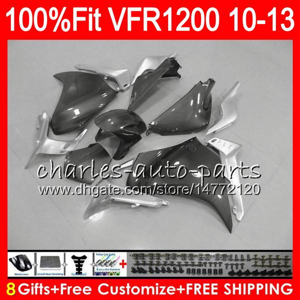 Inyección para HONDA VFR1200RR VFR 1200 RR VFR1200 10 11 12 13 98NO9 VFR-1200 VFR 1200RR VFR 1200 2010 2011 2012 2013 TOP Plata Gris carenado