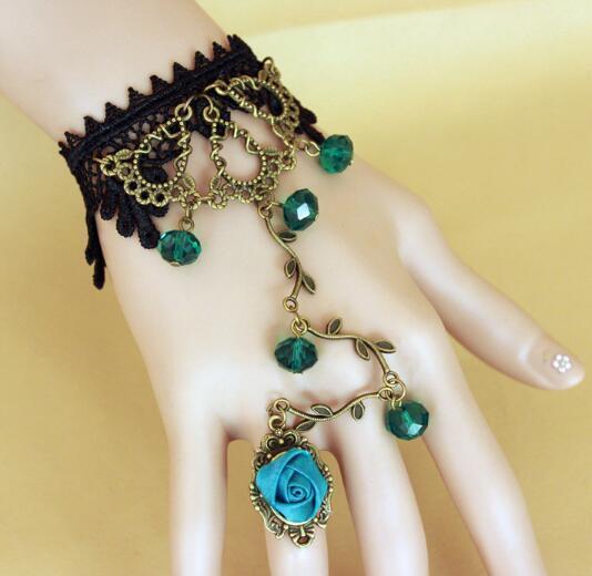 Estilo caliente Retro star smurf pulsera de cristal con encaje negro anillo de dama joyería de comercio exterior moda clásica delicada elegancia