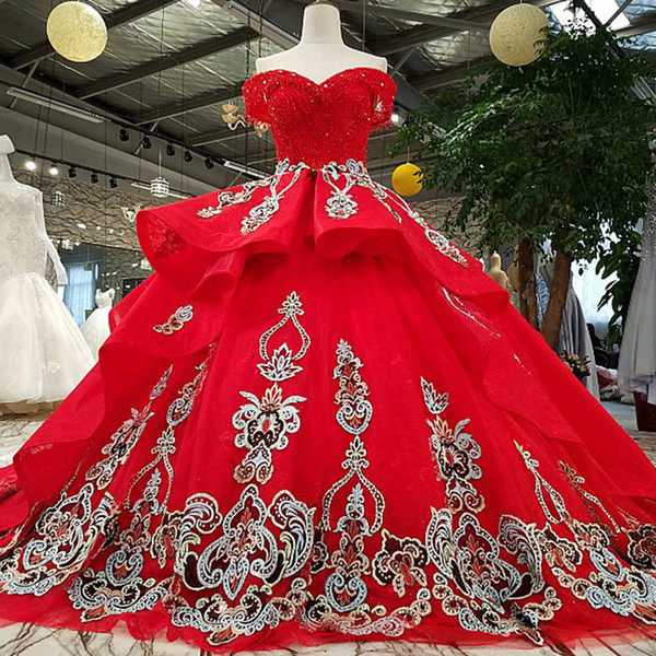 2019 Vintage Evening Dress Off Shoulder Sweetheart Floor Length Lace Up Back Crystal Ball Gown Prom Dress Red Puffy Evening Dress Wholesale