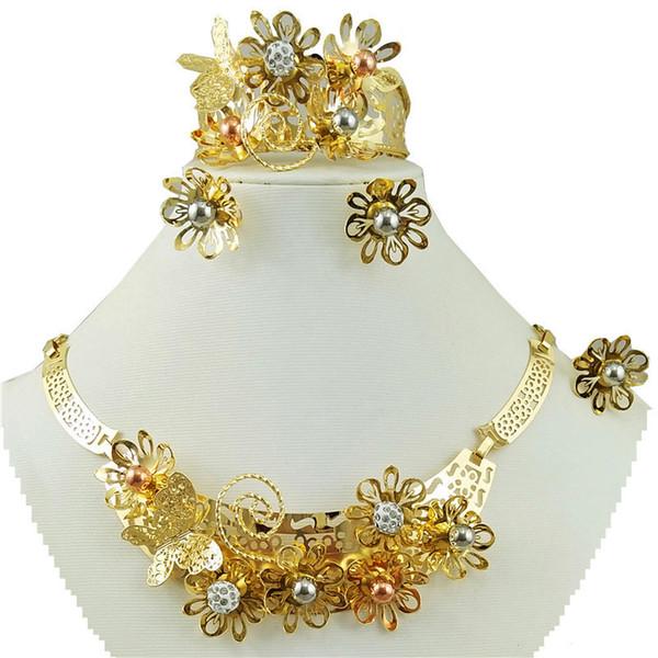 collana africana set di gioielli di perline oro gioielli africani set collana all'ingrosso dubai