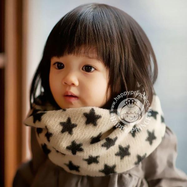 Marca coreana de punto cálido anillo de bufanda de invierno de algodón de lana niños lindos niños niñas bebé pañuelo de estrella patrón de brillo bufandas
