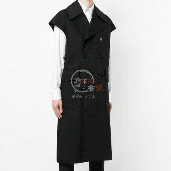 New Men Youth Long Trench Coat Style Vest Men British tide Sleeveless Casual Suit Vest Loose Outwear Siger Costumes S-5XL
