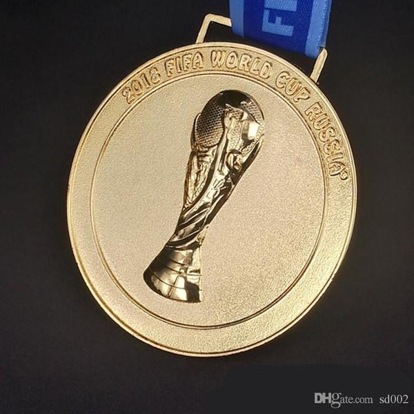 Il 2018 russo Coppa del mondo di calcio Medaglia d'oro distintivo Fan Souvenior regalo con nastro Collezioni di alta qualità 25xl Ww