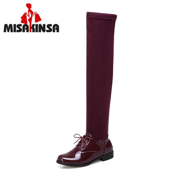 MISAKINSA Kadınlar Uyluk Yüksek Çizmeler Kış Sıcak Kürk Streç Çizmeler Patchwork Dantel Up Uzun Moda Kadın Ayakkabı Boyutu 34-43